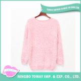 Da cor-de-rosa Handmade acrílica da menina da forma camisola de lã feita malha