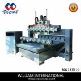 回転式軸線CNCの彫版機械(VCT-TM2512R-12H)が付いているマルチSpindl CNCのルーター