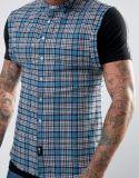 Camisa Sleeveless da verificação de Rosa Londres dos homens no azul