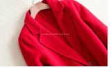 Capa de polvo de 100%Woolen de la mujer roja