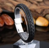 Gesponnenes ledernes Armband-Edelstahl-Magnet-Faltenbildungschmucksachen Armband