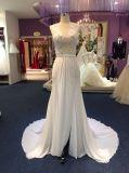 Uma linha vestidos de casamento Chiffon do buraco da fechadura do Neckline da ilusão do verão com Split