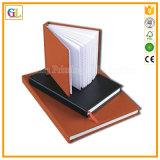 Cahier en cuir fait sur commande d'agenda de papier de livre À couverture dure d'unité centrale