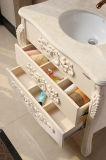 Cabinet de salle de bains monté sur plancher avec technique peinte et découpée