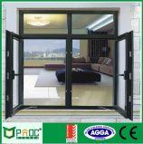 Het oppervlakte Gebeëindigde Verglaasde Openslaand raam Pnoc0025cmw van het Aluminium Dubbel