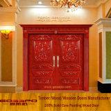 Porte en bois extérieure avant de double porte d'entrée (XS1-001)