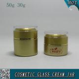 50g 30g Farbe, die kosmetisches Glasglas-leere Gesichts-Sahne-Glas-Gläser sprüht