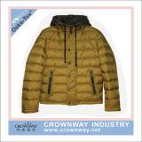 Unisex зима людей подделывала вниз с куртки с клобуком контраста