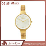 Reloj resistente del cuarzo suizo de la elegancia de agua de la manera del oro
