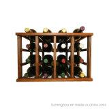 Cremagliera di legno della mensola della cantina per vini della visualizzazione di memoria del pavimento accatastabile