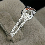 Anel de diamante de pedra da corda da infinidade da CZ do Topaz fumado da prata esterlina