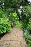 3D 문을%s 아름다운 뒤뜰 정원 설계사 유화 또는 벽지