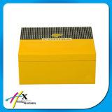 특별한 디자인 황색에 의하여 그려지는 삼목 담배 저장 상자 여송연 포장 상자