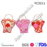 Cesta pintada a mano de cerámica del regalo para el día de tarjeta del día de San Valentín