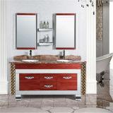 Pavimento classico di disegno che si leva in piedi vanità della stanza da bagno del doppio dispersore