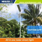 Luz de calle solar integrada ligera al aire libre elegante 6W-100W del LED con teledirigido