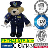Brinquedo do luxuoso do urso da peluche do polícia da polícia de New York do animal enchido