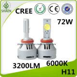 Farol 6000k 12V 72W 6400lm do carro do diodo emissor de luz do CREE
