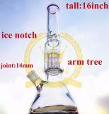 Água de vidro da tubulação que fuma a fábrica fundida do atacadista do cachimbo de água da taça da árvore de 4 braços mão arrebatada