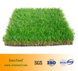 Erba artificiale del tappeto erboso di svago (filato diritto di figura di C + Brown e filato riccio di colore giallo)