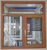 一等級の現代デザイン木製の穀物のフィルム上塗を施してあるPVC開き窓のガラス窓(PCW-034)