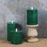 Flammenlose LED Kerze des Pfosten-im Grün (von 3) einstellen