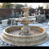 Fontaine d'or Mf-1033 de calcium de granit de travertin en pierre de marbre de jardin