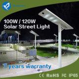 Blueamrt 120W tout dans un système de réverbère du panneau solaire DEL avec la source lumineuse