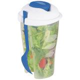 Tazza di plastica dell'insalata con la forcella, Plasticsalad che veste agitatore
