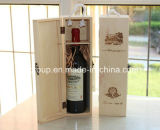 Nach Maß Ein-Flasche hölzerner Wein, der mit freiem Fenster verpackt