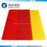 Placa de plástico em policarbonato de parede gêmea vermelha amarela geada