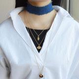 Голубой Handmade чокеровщик джинсыов с ожерельем шкентеля сердца злейшего глаза покрынного кристалла золота