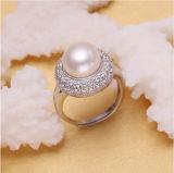 Anello rotondo della perla di modo dell'anello di cerimonia nuziale dell'anello della perla dell'anello 925 del pane europeo dell'argento sterlina 10-11mm AAA