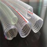 Fil d'acier de PVC/boyau spiralés d'aspiration/débit