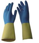 Перчатки голубого нитрила неопрена химически упорные
