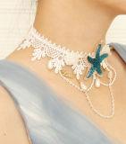 진주를 가진 여름 대양 파란 별 레이스 목걸이