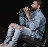 Luz da venda da forma da fábrica a melhor - rasgo magro azul calças de brim lavadas das calças da sarja de Nimes