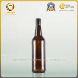 フリップ帽子750mlのこはく色のガラスビール瓶(014)
