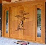 Porte en bois de bois de construction avec l'exécution de Delicated