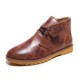 Gaines en cuir réelles fabriquées à la main Brown plus des gaines de l'hiver d'hommes de taille
