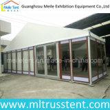Cadre en aluminium de 10X24m avec tente en verre texturée en bois personnalisé pour réunion d'hôtel
