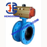 Ferro de molde de DIN/API/válvula de borboleta pneumática flange Ductile do ferro
