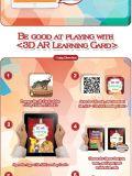 O cartão estereofónico da mágica 3D brinca o jogo aumentado cartões da realidade 60PCS que aprende cedo o jogo educacional interativo educacional
