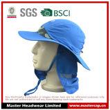 100% microfibra de poliéster casquillo al aire libre color azul con UPF50 +
