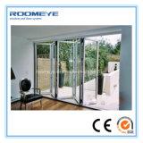 Type se pliant de Roomeye portes de pliage glacées par double de Bi de porte extérieure d'aluminium à vendre