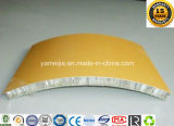壁のクラッディングのための黄色いカラーPVDFによって塗られる曲げられたアルミニウム蜜蜂の巣のパネル