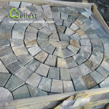 St-014 Yellow Wood Slate Square Meshed Paving Stone für Landscape