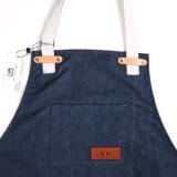 A mão Crafted aventais resistentes da cozinha do cozinheiro chefe das senhoras do azul de marinha com cinta do algodão