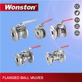 a válvula da esfera 2PC flangeou extremidade com a almofada de montagem direta Pn16/Pn40
