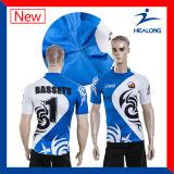 十分にHealong Sportwearの熱い販売100%Polyesterの昇華ラグビージャージー